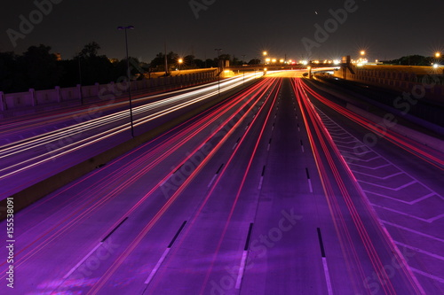Foto op Canvas Nacht snelweg night traffic light trails 1