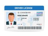 Fototapety Flat man driver license plastic card template, id card vector illustration