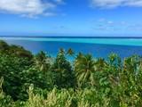 Beautiful view on the turquoise lagoon of Huahine, Tahiti, French Polynesia