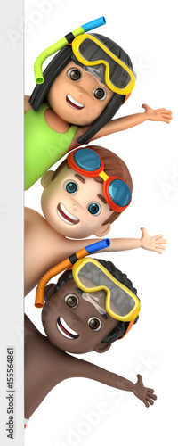 Fototapeta 3d render of a kids wearing swimwear and goggles with a blank board