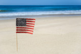 Patriotic USA background on the sandy beach - 155572203