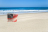 Patriotic USA background on the sandy beach - 155572238