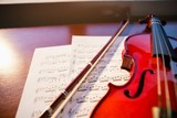 High angle view of violin with sheet music