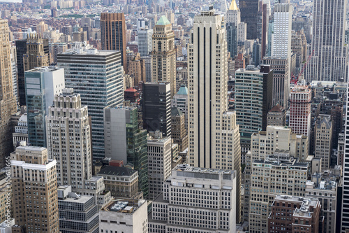 Full frame view of the urban skyscraper canyons of the Midtown Manhattan, New York City skyline