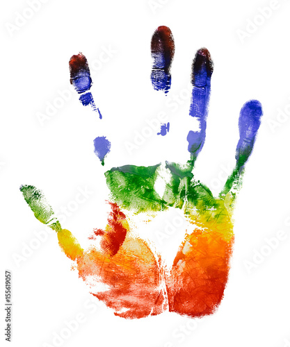 Rainbow colorful right hand print isolate on white background