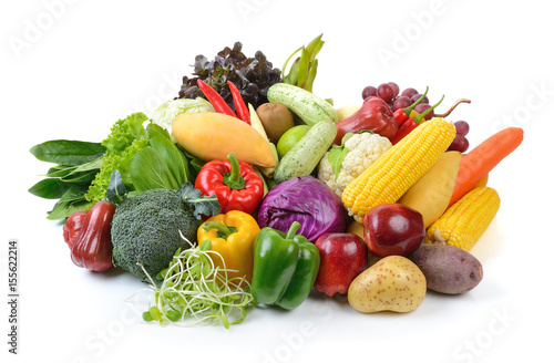 Foto Murales vegetables and fruits on white background