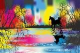Tęczowy krajobraz z koniem