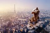 Giant Dinosaur invading Paris, France