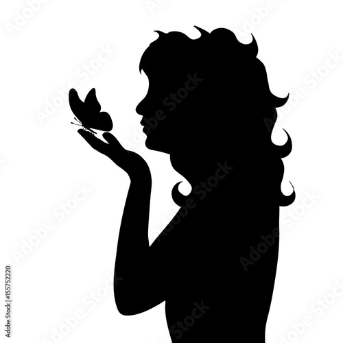 Vector silhouette of girl with butterfly on white background.