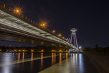 The panoramic view of UFO tower on the Danube bridge in Bratislava by night