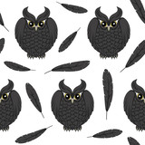 Seamless, vector pattern with black owls and feathers.