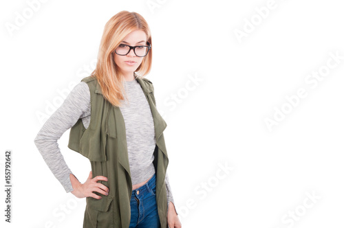 Beauty stylish blonde female posing in fashionable clothes