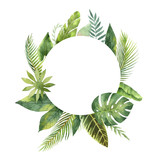 Watercolor round frame tropical leaves and branches isolated on white background. - 155794208