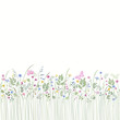 seamless floral border with butterflies
