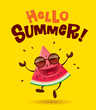 Hello Summer! Watermelon character with arms open wide.   - 155796418