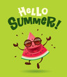 Hello Summer! Watermelon character with arms open wide.   - 155796460