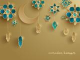 Paper graphic of Islamic decoration. Geometry art, Crescent moon and Arabic lantern. Ramadan Kareem - Glorious month of Muslim year. - 155797045