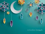 Paper graphic of Islamic decoration. Geometry art, Crescent moon and Arabic lantern. Ramadan Kareem - Glorious month of Muslim year. - 155797099