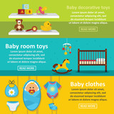 Kids toys banner horizontal set, flat style