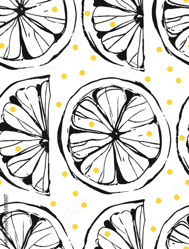Hand drawn vector abstract unusual summer time seamless pattern with lemon slice and freehand texture isolated on white background.Fashion,menu,journalling,logo,design,brand,lemonade concept. - 155801607