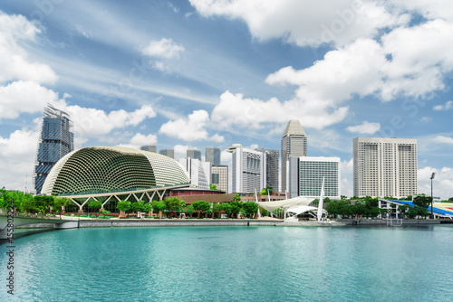 View of modern buildings and Marina Bay. Singapore skyline