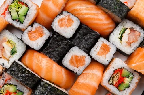 Fototapeta Set of sushi, maki and rolls background