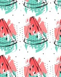 Hand drawn vector abstract collage seamless pattern with watermelon fruit isolated on white background.Unusual decoration for summer time wedding,birthday,save the date,journalling,fashion fabric.