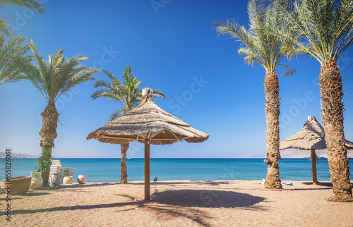 Poster Egypte Sunny morning at central public beach of Eilat - number one resort and recreation city in Israel