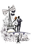 Romantic hugging couple near the Eiffel Tower among the flowers. Travel background for postcard etc.