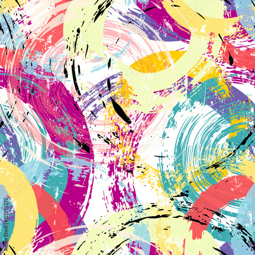 Aluminium Abstract met Penseelstreken seamless background pattern, with circles, paint strokes and splashes