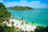 View point from top of mountain for see the beach , sea and nature of  Angthong island at thailand