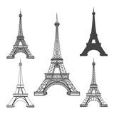 Eiffel tower icons isolated on white background. French Paris towers black silhouettes vector illustration