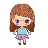 colorful silhouette of kawaii cute little girl with straight hair and facial expression depressed vector illustration