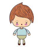 colorful silhouette of kawaii little boy with facial expression sad vector illustration