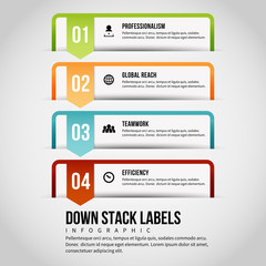 Down Stack Labels Infographic