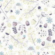 Light fresh seamless pattern with birds, leaves, flowers - 155964034