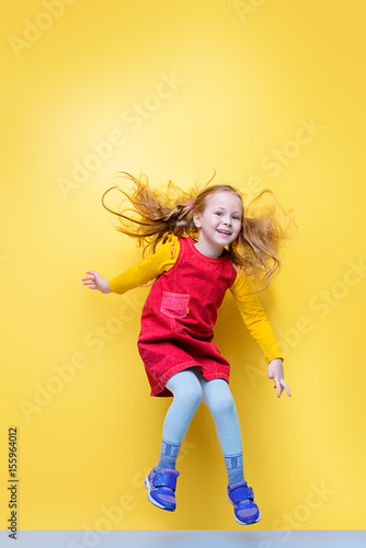 Póster joyful jumping girl