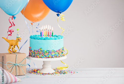 Blue Birthday Cake with Balloons Poster
