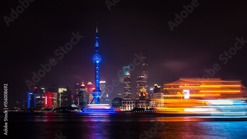 Long Exposure of Shanghai City Skyline and Huangpu River on a Clear Night