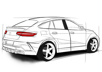 Mercedes GLE sketch
