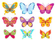 set of colorful cartoon butterflies on white. vector illustration - 156095643