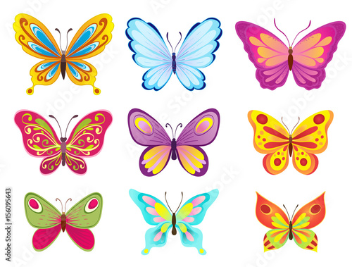 Fototapeta set of colorful cartoon butterflies on white. vector illustration