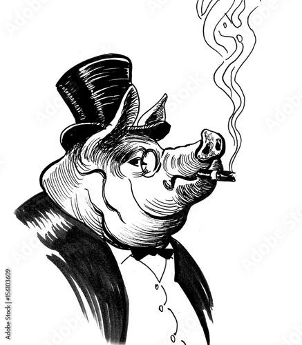 Smoking pig - 156103609