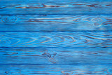 Wooden blue background. Top view. - 156105607