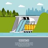 color landscape background hydropower plant renewable energy vector illustration