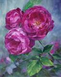 pink roses in the garden - oil painted on canvas - 156119211
