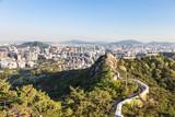 Seoul city wall from Inwangsan mountain in South Korea capital city