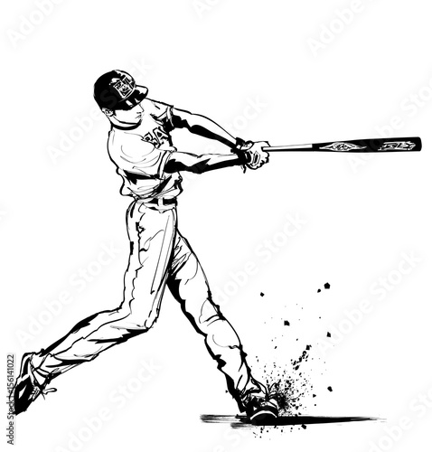 Deurstickers Art Studio Baseball hitter Swinging