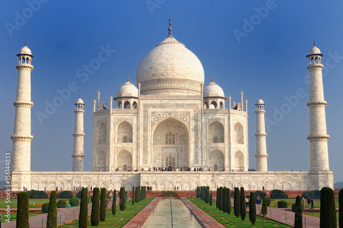 White marble Taj Mahal in India, Agra, Uttar Pradesh.