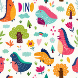 Seamless pattern with cute dinosaurs in nature